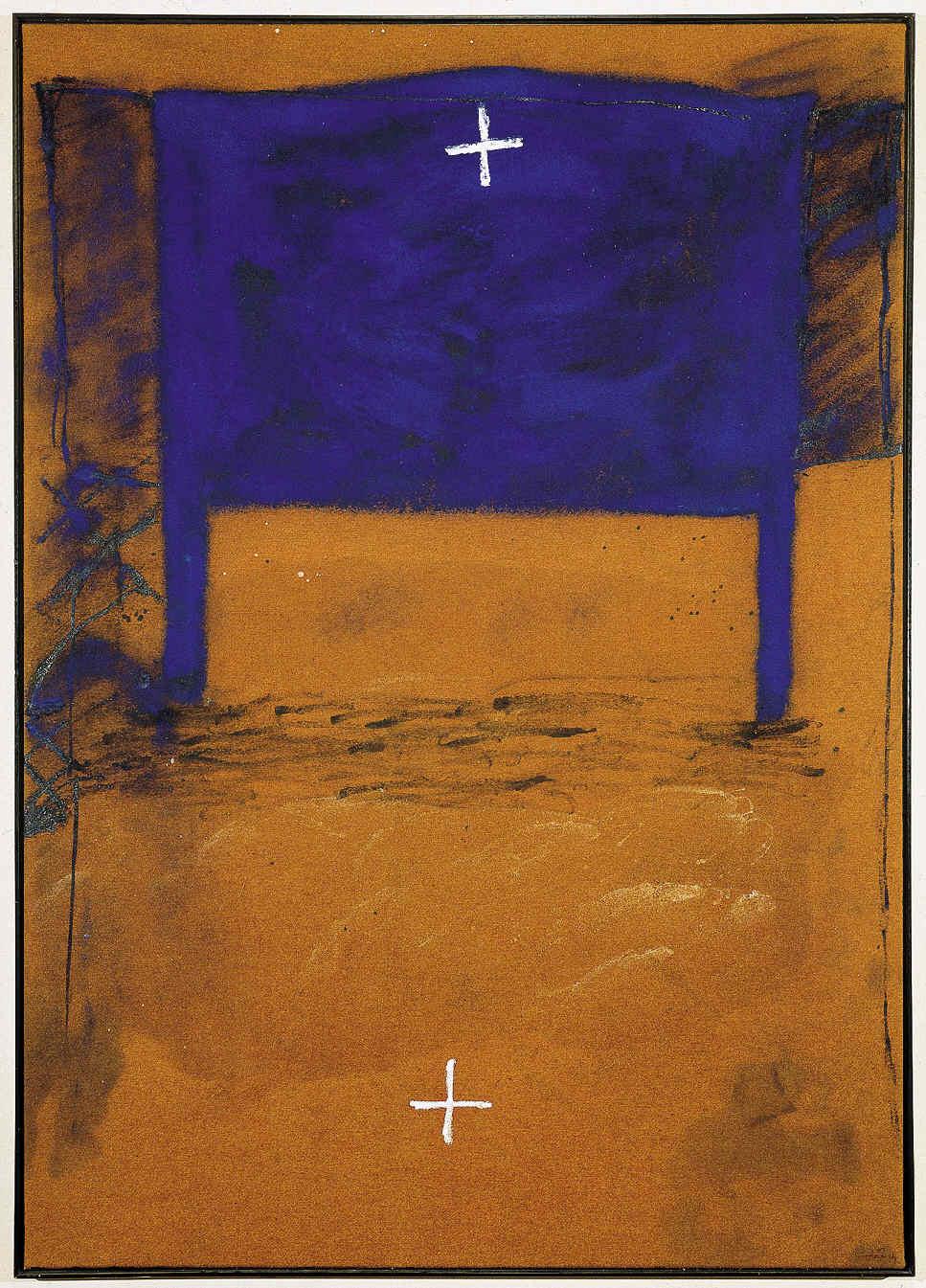 TÀPIES, Antoni, <i>Blau i dues creus</i>