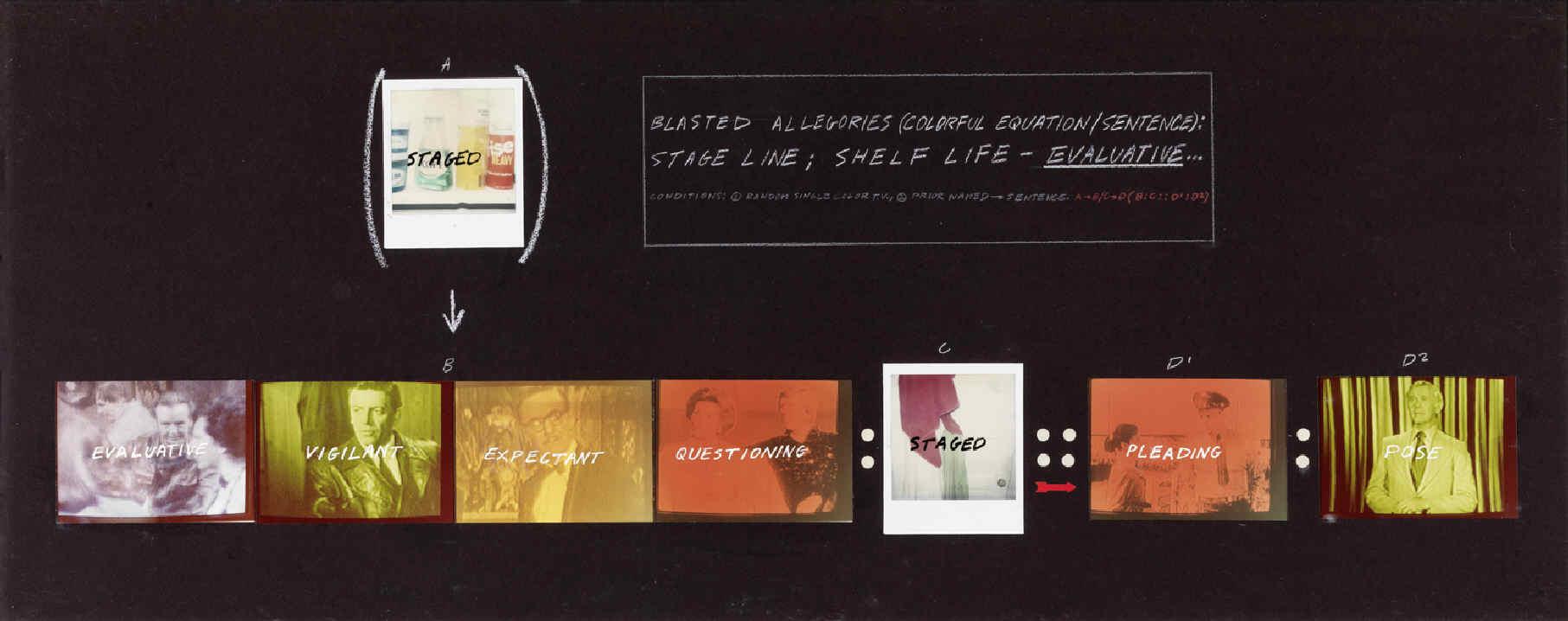 BALDESSARI, John, <i>Blasted Allegories (Colorful Equation/Sentence): Stage Line; Semi-Colon Shelf Life-Evaluative</i>