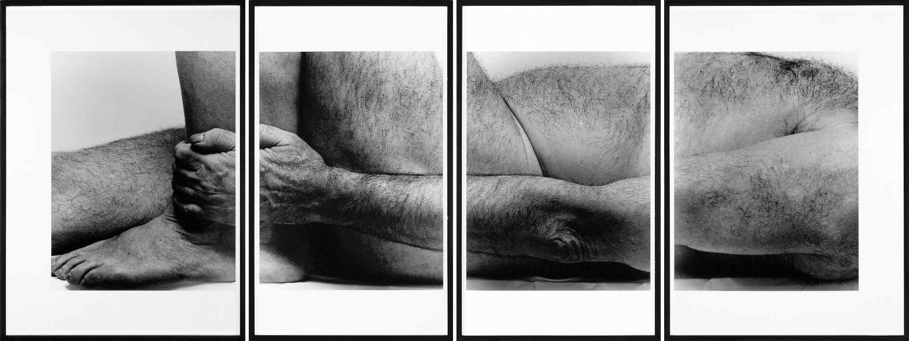 COPLANS, John, <i>Self Portrait, Lying Figure, Holding Leg -Four panels-</i>